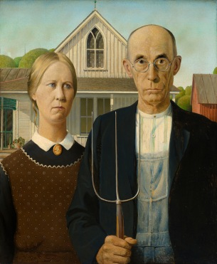Grant Wood, American Gothic, 1930 Oil on beaver board, 78 x 65 cm The Art Institute of Chicago, friends of American Art Collection, 1930.934