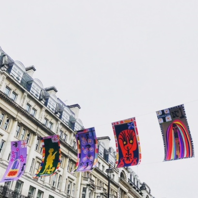 Flags by Grayson Perry on Piccadilly