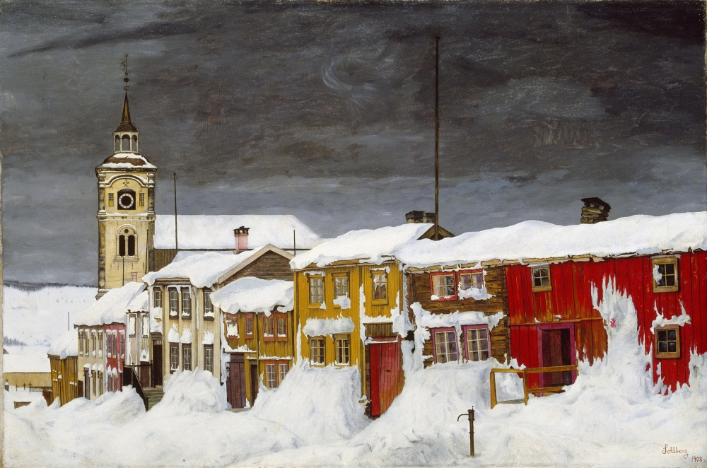 NOR Gate i Røros, ENG Street in Røros in Winter