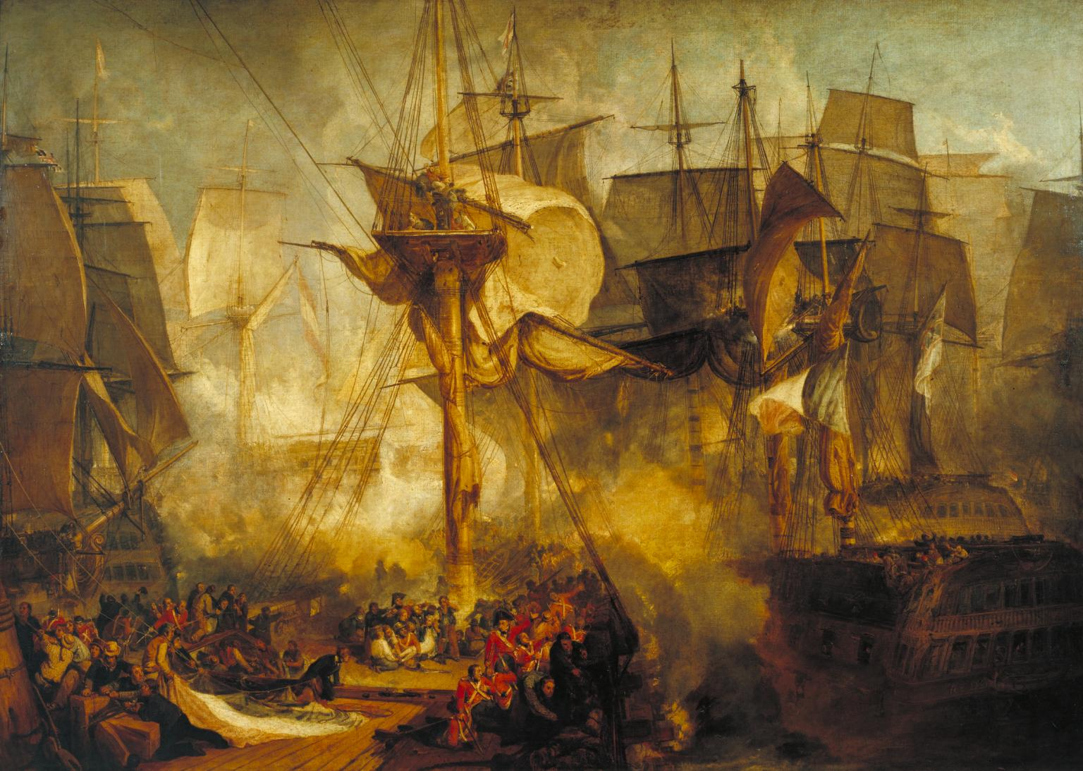 The Battle of Trafalgar, as Seen from the Mizen Starboard Shrouds of the Victory 1806-8 by Joseph Mallord William Turner 1775-1851