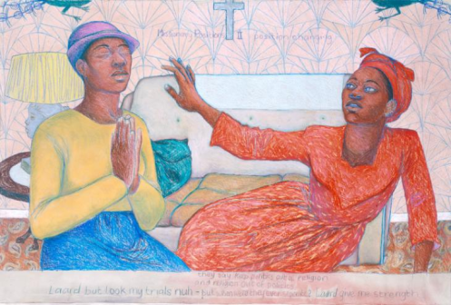 Sonia Boyce, Missionary Position II, 1985, watercolour, pastel and crayon on paper